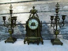 Antique French Clock Garniture With Candlesticks gold gilt Brass Cherub Face