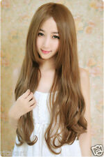 Girls New Fashion Fluffy Golden Brown Curly Long Hair Wig 1092