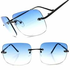 Light Gradient Blue Lens Retro 80s Fashion Mens Womens Rimless Square Sunglasses