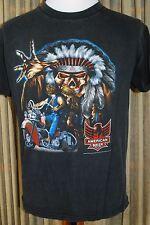 Vintage American Biker Black T-Shirt - 3D Emblem - Motorcycle Indian Skull