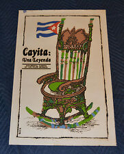 1981 Original Cuban Silkscreen Movie Poster.Cayita una leyenda.Cuba flag chair.