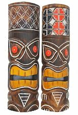 2 tiki masques 50cm holzmaske tiki 2er set masque Masques Hawaii tribal wandmasken