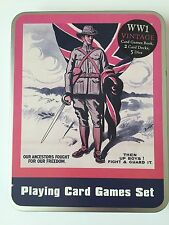 WW1 VINTAGE LOOK PLAYING CARD GIFT SET-GAMES BOOK/5 DICE/2 DECKS/PACKS CARDS-NEW