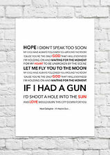 Noel Gallagher's High Flying Birds - If I Had A Gun - Song Lyric Art Poster - A4