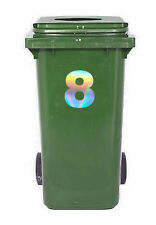 Pearl Effect Wheelie Bin, Recycling, Dust Bin Sticker/Decal Number 8 (eight)