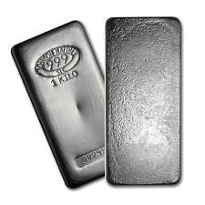 One piece 1 kilo 0.999 Fine Silver Bar Johnson Matthey Lot 8932