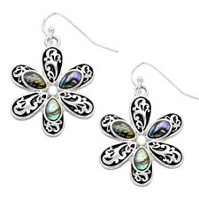 Daisy Flower Vine Filigree Fashionable Earrings - Fish Hook - Abalone Paua Shell