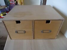 Wood Filing Card Cabinet Industrial Office Storage Business Home Office Display
