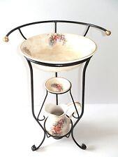 Set TOILETTE catino brocca piattino ferro battuto ottone e ceramica TOSCANA