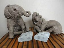 HERD by Martha Carey CHIT & CHAT set #2104 & 2111 ELEPHANT Figurine 1985