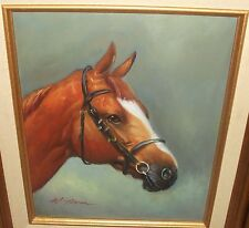 M.AARON BROWN HAIR HORSE ORIGINAL OIL ON CANVAS PAINTING