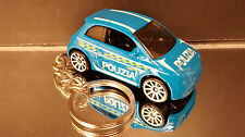 Fiat 500 Coupe Key Chain Ring Blue Police Car Diecast Fob 2 Door