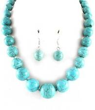 TURQUOISE STONE BEAD GRADUAL NECKLACE EARRING SET