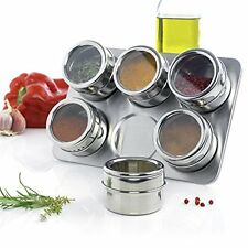 6 Pcs Magnetic Stainless Steel Spice Jar Set