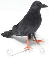 Black Raven Crow Feathered Bird Prop Halloween Blackbird Fancy Dress Accessory