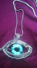 HIPPY BOHO STEAM PUNK DRAGON EYE WIRE WEAVE PENDANT NECKLACE SILVER  13f2