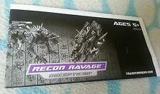 Transformers HFTD RECON RAVAGE INSTRUCTION BOOKLET ONLY