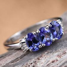 A Grade Tanzanite Trilogy & Baguette Diamond Plat/925 Ring Size O