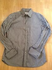 """GREAT MENS TED BAKER BLACK & GREY STRIPED LONG SLEEVE SHIRT COLLAR SIZE 17"""" WORN"""