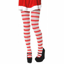 CHRISTMAS Red and White Candy Stripe Tights Elf Mrs Claus One Size Fancy Dress