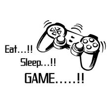 New Sleep Game Wall Art Wall Stickers Gamer Bedroom Removable Black Decal