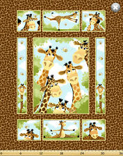 "Susybee's Zoe Happy Giraffe Quilt top 100% cotton 42"" X 35"" fabric by the Panel"