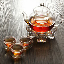 Chinese Glass Tea Pot Set With Infuser Filter Tealight Warmer 6 Cups