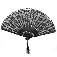 Vintage Spanish Bamboo & Lace Flower Folding Hand Fan Dancing Wedding Decor