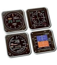 Trintec 4-Piece Square Acrylic Modern Aircraft Instrument Coaster Set - 9099