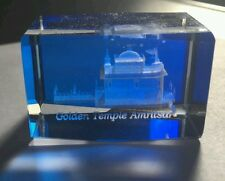 "Golden Temple Amritsar 3D LASER ETCHED 1.7"" CRYSTAL Blue GLASS CUBE - Sikh Gift"