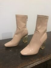 Size 7 Public Desire CHLOE pink Nude Faux Leather PVC Perspex Ankle Boots Heels