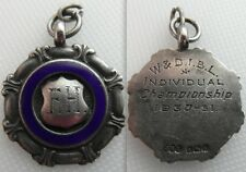 Nice Collectable Solid Silver Watch Chain Fob / Medal With Enamel - 6.4 Grams
