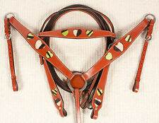 New Green Zebra Heart Bridle Headstall Breastcollar Leather Western Horse Tack