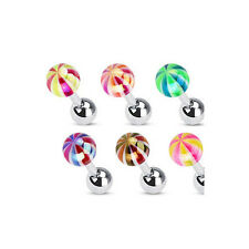 G#34 - 6pcs Metallic Coated Candy Ball Stud Tragus Rings Wholesale Body Jewelry