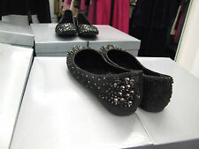 Qube BNIB UK 5 Diamante & Beads Studded Black Flat Moccasins Loafers Shoes EU 38