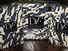 3pc DVF LEOPARD SEA SPLASH Navy Black White KING DUVET COVER & STANDARD SHAMS