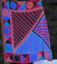 "VINTAGE Casca for Magid Weighty Silk Scarf Geo 35"" Soie True Colors Both Sides"