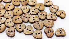 Floral Heart Wooden Buttons Flower Pattern Two Holes Heart-Shape Brown 3pcs