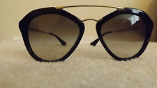 GENUINE PRADA SPR 12Q - A 0A7 GLOSSY BLACK & GOLD CAT'S EYES CINEMA SUNGLASSES