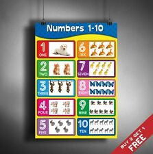 A3 NUMBERS CHART 1-10 POSTER *Kids Children Educational Wall Chart Cute Animals
