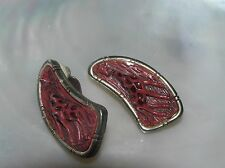 Vintage Curved Goldtone Faux Bamboo & Red Repousse Plastic Giraffe Clip Earrings
