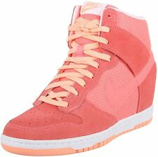 NEW NIKE Dunk Sky High HI ESSENTIAL sz 8 PINK LAVA GLOW WEDGE SHOES HEEL
