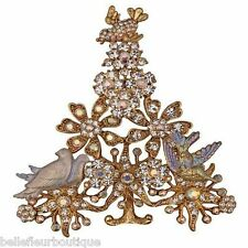 Kirks Folly Peaceful Christmas Tree Pin Bluebird and Dove of Peace