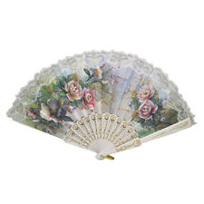 Hollow Out Rib Peony Print Lace Trim Folding Fabric Hand Fan Colored F6
