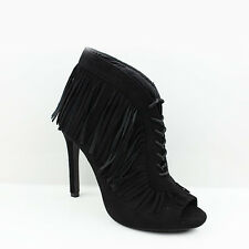 NEW WOMENS LADIES HIGH HEEL PEEP TOE LACE UP TASSLE ANKLE BOOTS  SHOES SIZE 3-7