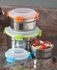 6-Pc Locking Lid Stainless Steel Bowl Set Leftovers Food Storage Containers