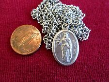 "St. Rose of Lima Medal Silv Wash Brass  1"" x 1/2"" Chain Non Ending 24"" 1586-1617"
