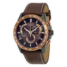 Citizen Perpetual Chrono A-T Dark Brown Dial Brown Leather Mens Watch AT4006-06X