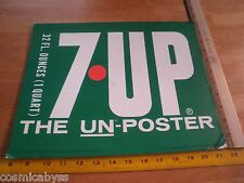 "1970's 7-UP counter display cardboard sign unused 11x14"" Un-Poster Un-cola"