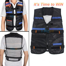 Adjustable Tactical Vest Jacket Waistcoat with Storage Pockets for Nerf N-Strike